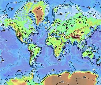 Continental crust - The thickness of Earth's crust (km)