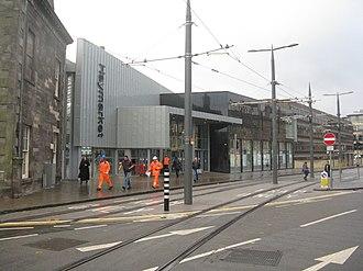 Haymarket railway station - Tram tracks outside the station.
