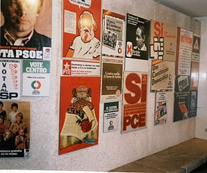 Spanish transition to democracy - Political posters in an exhibition celebrating 20 years of the Spanish Constitution of 1978.