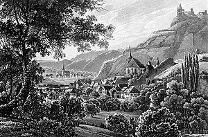 Traben-Trarbach - The town of Trarbach on the Moselle (in the foreground) with the Grevenburg and Traben (in the background). Aquatint by Karl Bodmer about 1831.