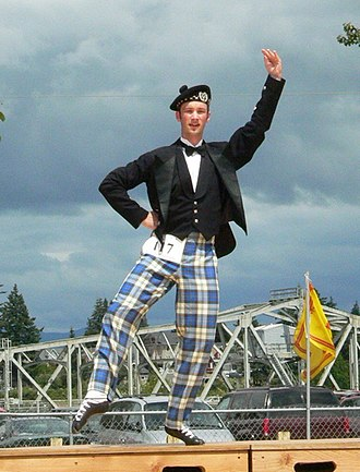 Scottish highland dance - Laddie dancing in tartan trews
