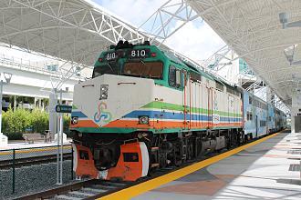 Miami Intermodal Center - A Tri-Rail train at the MIC on the second day of revenue service in April 2015