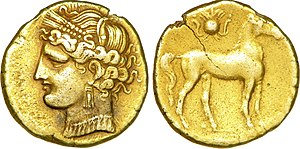Africa (Roman province) - Electrum tridrachme struck at Zeugitane in Carthage