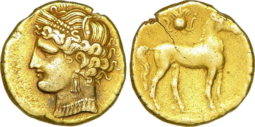 Tridrachme en électrum de Carthage