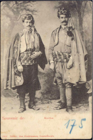 Two Kurdish men in costume in 1899.png
