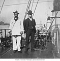 Two men on the deck of a foreign battle ship at anchor in New Orleans harbor, 1904 (TRANSPORT 951).jpg