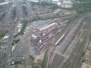 Tyseley Locomotive Works - Tyseley Traction Maintenance Depot (top); Tyseley Locomotive Works (around the turntable); and carriage sidings