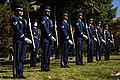 U.S. Airmen with the Hill Air Force Base Honor Guard stand at attention during the funeral service for a fallen Airman Oct. 26, 2013, near Ogden, Utah 131026-F-SP601-039.jpg