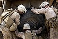 U.S. Marines with Combat Logistics Regiment 2 help Marines with the 3rd Battalion, 9th Marine Regiment change a tire during a combat logistics patrol to Forward Operating Base Payne March 23, 2012, in Helmand 130323-M-KS710-054.jpg