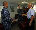 U.S. Navy Capt. Michael Jacobsen, center, chief of staff of U.S. Naval Forces Southern Command, U.S. 4th Fleet; Capt. Kurt Hedberg, left, Southern Partnership Station (SPS) 2010 mission commander; and 100824-N-EP471-398.jpg