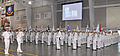 U.S. Navy Rear Adm. James F. Caldwell Jr., second from left, commander of Submarine Force U.S. Pacific Fleet, salutes Sailors with Recruit Division 813 during the pass in review portion of a graduation ceremony 120518-N-IK959-941.jpg