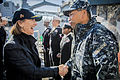 U.S. Navy Rear Adm. Peter A. Gumataotao, right, the commander of Naval Surface Force Atlantic, greets Elaine Bunn, the deputy assistant secretary of defense for Nuclear and Missile Defense Policy, during her 140109-N-KE519-125.jpg