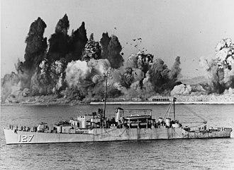 USS Begor (APD-127) - Begor (APD-127) offshore during Evacuation of Hŭngnam, 24 December 1950