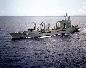 USS Cimarron (AO-177) off Apra Harbor pt 1983