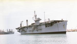 USS Croatan (CVE-25) - Former USS Croatan as USNS (T-AKV 43) aviation transport, Okinawa, Japan May 1967