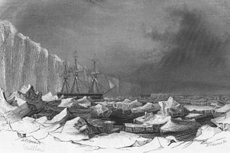 USS Peacock (1813) - Image: USS Peacock in ice, 1840