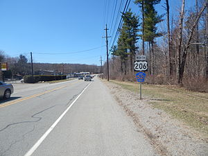 County Route 521 (New Jersey) - US 206 and CR 521 in Sandyston Township