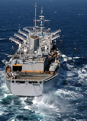 USS Detroit (AOE-4) - USS Detroit during a dual underway replenishment