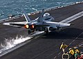 US Navy 041123-N-5345W-036 An F-A-18C Hornet assigned to the Bulls of Strike Fighter Squadron Three Seven (VFA-37) is launched from one of four steam-powered catapults on the flight deck of the Nimitz-class aircraft carrier USS.jpg