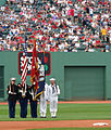 US Navy 050613-N-8110K-050 The color guard assigned to USS Shreveport (LPD 12), renders colors before the Boston Red Sox game against the Cincinnati Reds at Fenway Park in Boston.jpg