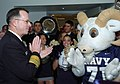 US Navy 051130-N-0295M-001 Chief of Naval Operations Mike Mullen applauds the U.S. Naval Academy cheerleaders and their mascot Bill the Goat during a Pep-Rally at the Pentagon.jpg