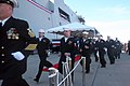 US Navy 060114-N-0191T-201 Sailors assigned to USS San Antonio (LPD 17) man the ship, officially bringing her to life, during her commissioning ceremony held on board Naval Station Ingleside.jpg