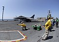 US Navy 080720-N-6676S-292 A French F-2 Rafale fighter launches off the flight deck of the aircraft carrier USS Theodore Roosevelt (CVN 71) during combined French and American carrier qualifications.jpg