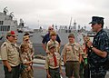 US Navy 100605-N-6108M-479 Sailor aboard the guided-missile destroyer USS Halsey (DDG 97) speaks to members of Boy Scout Troop 918 about his experience as a boy scout.jpg