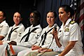 US Navy 110317-N-9818V-445 Cmdr. Shanti Sethi answers questions from female students during an event to commemorate Women's History Month while in.jpg