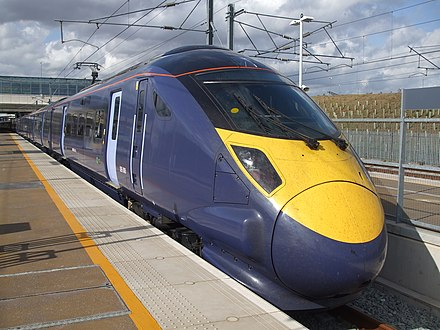 Southeastern High-Speed train at Ebbsfleet International. Southeastern's high-speed services are the only domestic rail services in the UK to operate at speeds of more than 200 km/h. Unit 395008 at Ebbsfleet International.JPG