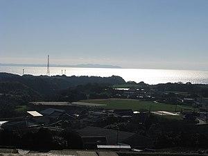 Uraga Channel - Uraga Channel. Look at the Boso Peninsula from the Miura Peninsula.