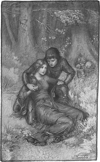 "Igraine - ""Shall I not be your wife?"" King Uther and Igraine after Gorlois's death, from Uther and Igraine by Warwick Deeping, illustration by Władysław T. Benda, 1903"