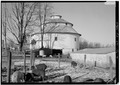 VIEW FROM THE SOUTH - Ranck Round Barn, Fayette-Wayne County Line Road, Waterloo, Fayette County, IN HABS IND,21-WATLO.V,1A-4.tif