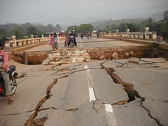 2011 Myanmar earthquake - A road damaged by the earthquake in Tarlay, Shan State