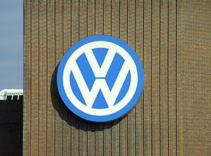 The Volkswagen logo on the power station of th...