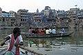 Varanasi, India, Cremation in progress.jpg