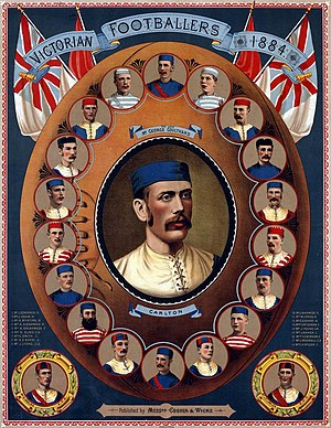 Australian rules football in popular culture - 1884 lithograph poster showing star VFA footballers of the day. The central portrait of Carlton's George Coulthard is surrounded by two players from each club, all contained in an oval football.