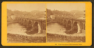 Philadelphia and Reading Railroad, Schuylkill River Viaduct - Image: View from Laurel Hill cemetery, Phila, by Kilburn Brothers