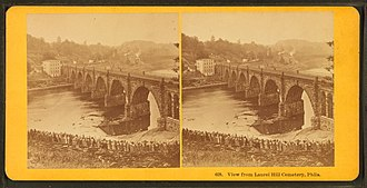 Spider Bridge at Falls of Schuylkill - Image: View from Laurel Hill cemetery, Phila, by Kilburn Brothers