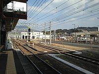 View of Sasebo Line from platform 5 of Haiki Station (North).JPG