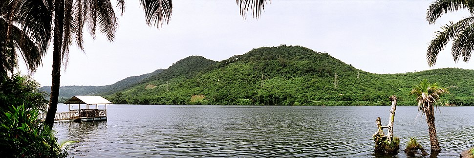 Panorama and landscape view of Lake Volta in the Volta Basin; the largest lake and reservoir by surface area in the world. Lake Volta contains an array of fungi species and flows into the Gulf of Guinea on the Atlantic Ocean. Lake Volta has three main tributaries: the Black Volta; the White Volta and the Red Volta.
