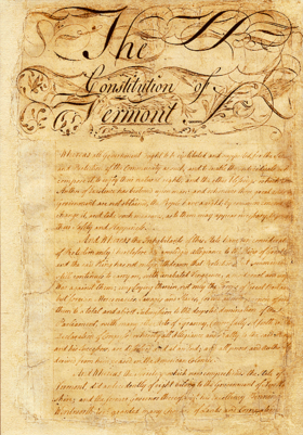 Vellum manuscript of the Constitution of Vermont, 1777. This constitution was amended in 1786, and again in 1793 following Vermont's admission to the federal union in 1791.