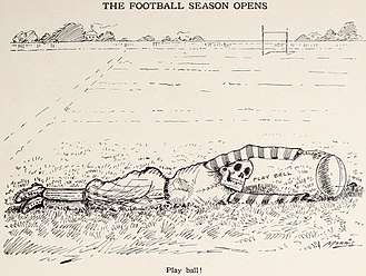 American football - 1908 cartoon (by W.C. Morris) highlighting the dangers that were associated with the sport