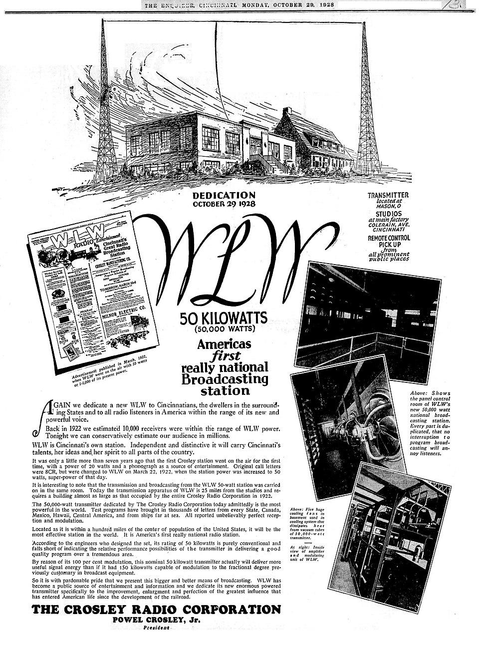 WLW Cincinnati Ohio radio advertisement (1928)