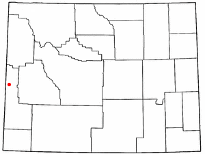 Grover, Wyoming - Image: WY Map doton Grover