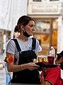 Waitress on a Brussels terrace during the Euro 2020 Denmark-Belgium match.jpg
