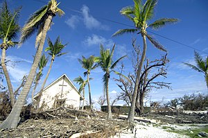 Wake Island - Damaged trees and debris left by Super Typhoon Ioke in 2006 at the Memorial Chapel on Wake Island