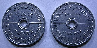 Sales tax token - Image: Washington Tax Tokens From 1935