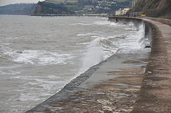 Waves breaking on the sea wall at Teignmouth (0163).jpg