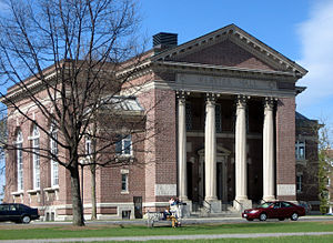 Daniel Webster - Webster Hall, at Dartmouth College, houses the Rauner Special Collections Library, which holds some of Webster's personal belongings and writings, including his beaver fur top hat and silk socks.